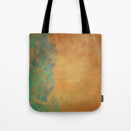 Grunge Garden Canvas Texture:  Golden Orange and Teal Floral Tote Bag
