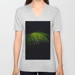 Single Tropical Palm Tree Branch Leaf Unisex V-Neck