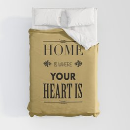 Home is Where - Typography brown Duvet Cover