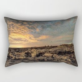Bisti Badlands Hoodoos Under Bright New Mexico Starry Night by OLena Art Rectangular Pillow