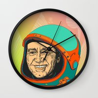 kevin russ Wall Clocks featuring Kevin Spacey by IvaDim