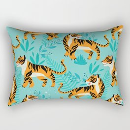 Yellow Tigers on Turquoise Rectangular Pillow