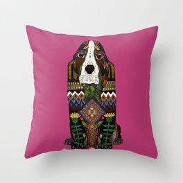 Basset Hound fuchsia pink Throw Pillow