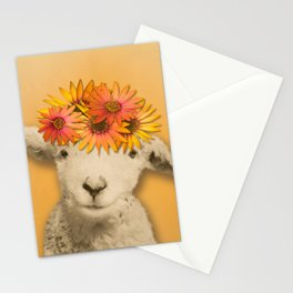 Daisies Sheep Girl Portrait, Mustard Yellow Texturized Background Stationery Cards
