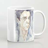 lou reed Mugs featuring Lou Reed by Germania Marquez