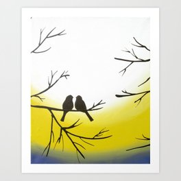 birds of a feather on yellow sunrise Art Print