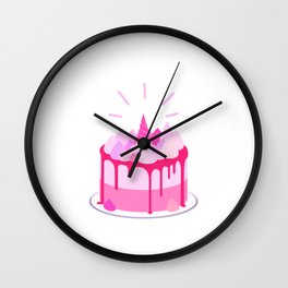 Berry cake with meringues and a horn Wall Clock