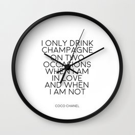 Champagne Quote,Inspirational Quote,Wall Art,Chanel Wall Decor,Digital Prints,Typography Print,Quote Wall Clock