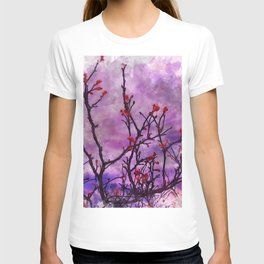 Dark Branches With Red Buds Watercolor T-shirt