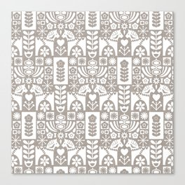 Swedish Folk Art - Warm Gray Canvas Print