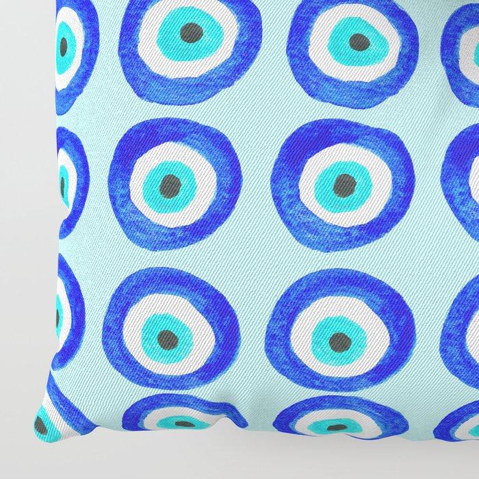 Evil Eye Amulet Talisman - on turquoise Floor Pillow