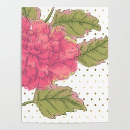 Big Bloom Pink Flower with Gold Polka Dots Poster