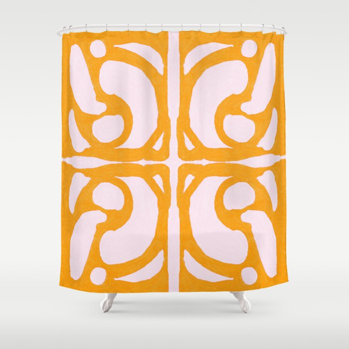 Abstract in Yellow and Cream Shower Curtain
