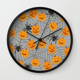 Hallween pumpkins spider pattern Wall Clock