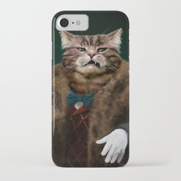 Arrogant sophisticated dressed cat boss looking with contempt iPhone Case