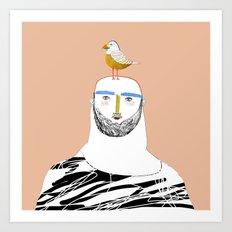 Man beard and bird Art Print
