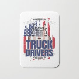 God Created Truck Drivers American Flag Bath Mat
