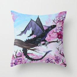 Baby Black Dragon in Cherry Tree Throw Pillow