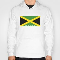jamaica Hoodies featuring Jamaica country flag name text by tony tudor