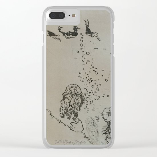 Under The Sea Green Black and White Clear iPhone Case