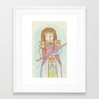 legend of zelda Framed Art Prints featuring Zelda by Jen DesRoche