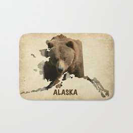 Alaskan Grizzly Map Bath Mat