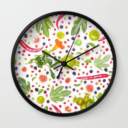 Fruits and vegetables pattern (7) Wall Clock