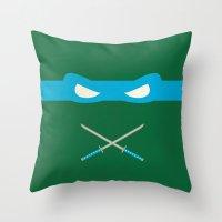 ninja turtles Throw Pillows featuring Blue Ninja Turtles Leonardo by 1986