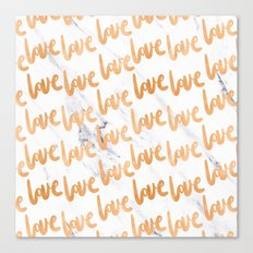 Valentines Day - Copper Gold Bronze Marble Love Word Typography Pattern Canvas Print