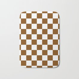 Checkered - White and Chocolate Brown Bath Mat
