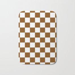 Checkered - White and Chocolate Brown Bath Mat