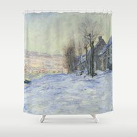 hamlet Shower Curtains featuring Lavacourt under Snow by Claude Monet by Palazzo Art Gallery