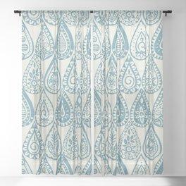 Indian raindrops blue Sheer Curtain