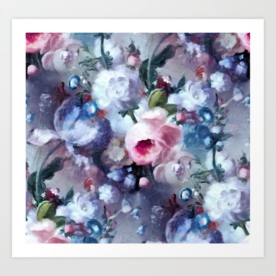 Blue and pink floral pattern Art Print