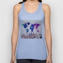 world map city skyline galaxy 2 Unisex Tank Top