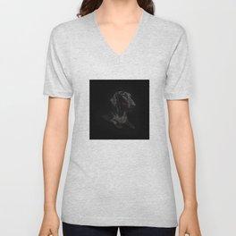 Black Dachshund Unisex V-Neck