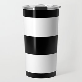 Midnight Black and White Stripes Travel Mug