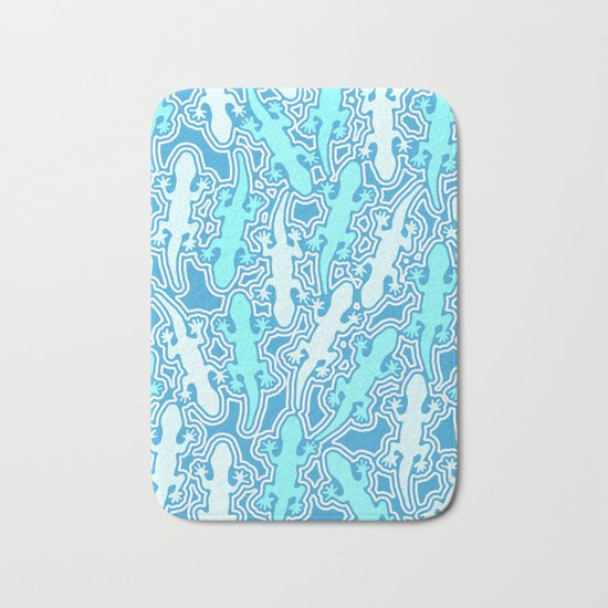Lizards in teal blue Bath Mat