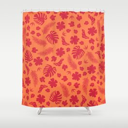 Tropical flora living coral pattern Shower Curtain