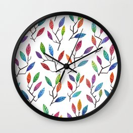 Leafy Twigs - Multicolored Wall Clock