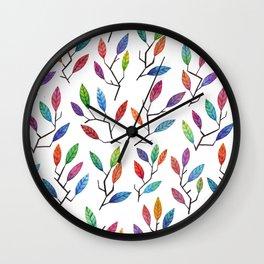 Leafy Twigs - Multicolored Wall Clock