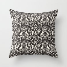 Victorian cat damask Throw Pillow