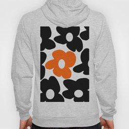 Large Orange and Black Retro Flowers White Background #decor #society6 #buyart Hoody