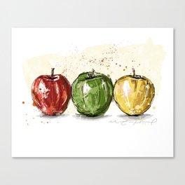 3 apples Canvas Print
