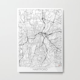 Hartford Map White Metal Print