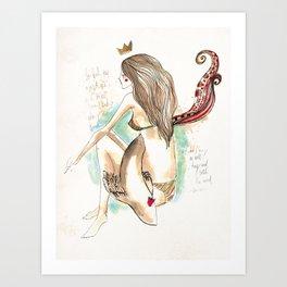 Beach girl and fish (protection) Art Print