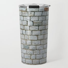 Wall of white bricks and other colors Travel Mug