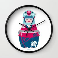 geisha Wall Clocks featuring Geisha by Piktorama