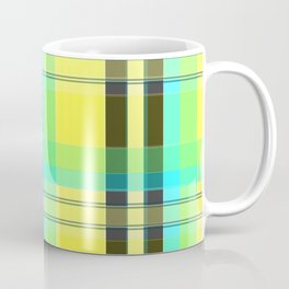Yellow Aqua Brown and Green Plaid Coffee Mug