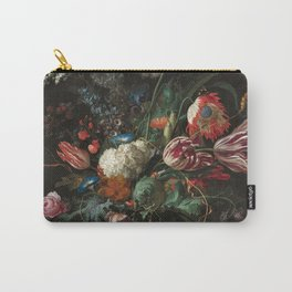 Still Life Parrot Tulips, Peonies, Hibiscus, Hydranga, Periwinkle Flowers in Vase by Jan de Heem Carry-All Pouch